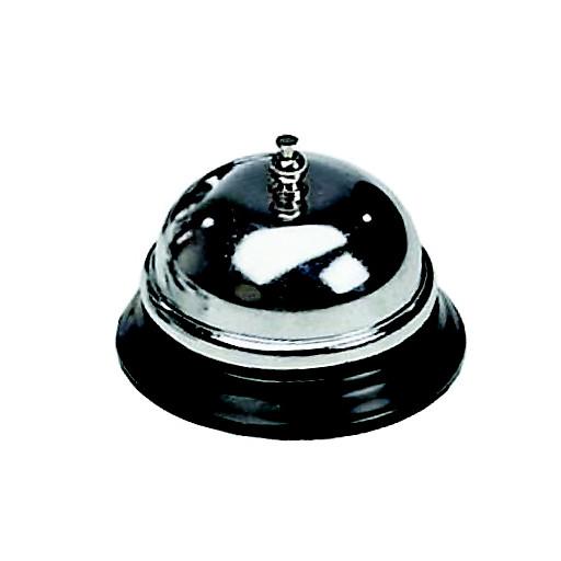 Rezeptionsglocke 8,5cm Ø silber,hochglanzverchromt m.Metallfuß schwarz CO