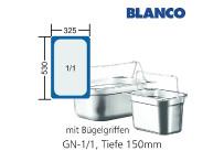 GN-Behälter 1/1-150mm m.Bügelgriffen,(BxTxH) 530x325x150mm CNS Blanco