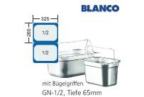 GN-Behälter 1/2-65mm m.Bügelgriffen,(BxTxH) 265x325x65mm CNS Blanco