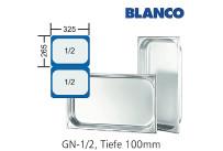 GN-Behälter 1/2-100mm,(BxTxH) 265x325x100mm CNS Blanco