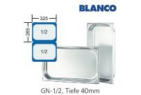 GN-Behälter 1/2-40mm,(BxTxH) 265x325x40mm CNS Blanco