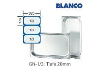 GN-Behälter 1/3-20mm,(BxTxH) 176x325x20mm CNS Blanco