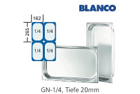GN-Behälter 1/4-20 Blanco CNS,