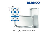 GN-Behälter 1/6-150mm,(BxTxH) 176x162x150mm CNS Blanco