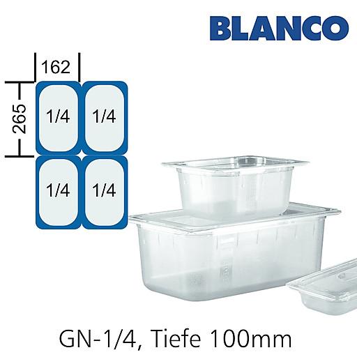 GN-Behälter 1/4-100mm,(BxTxH) 265x162x100mm Polycarbonat Blanco