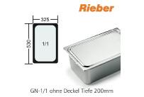 GN-Behälter 1/1-200mm,(BxTxH) 530x325x200mm CNS Rieber