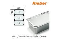 GN-Behälter 1/3-100mm,(BxTxH) 176x325x100mm CNS Rieber