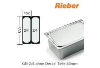 GN-Behälter 2/4-40mm,(BxTxH) 530x162x40mm CNS Rieber