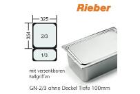 GN-Behälter 2/3-100mm m.Fallgriffen,(BxTxH) 354x325x100mm CNS Rieber