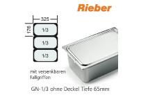 GN-Behälter 1/3-65mm m.Fallgriffen,(BxTxH) 176x325x65mm CNS Rieber
