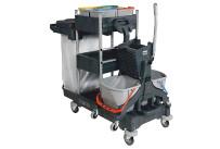 Reinigungswagen Pro Care 7 fahrbar,m.6 Eimer u.2 Müllsackhalter inkl. Ablage NU