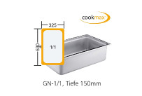 Gastronorm-Behälter GN 1/1-150mm Edelstahl,530x325x150mm Cookmax