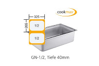 Gastronorm-Behälter GN 1/2-40mm Edelstahl,325x265x40mm Cookmax