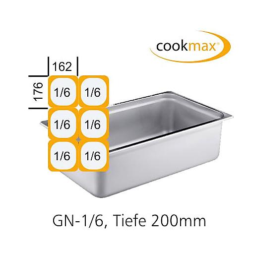 GN-Behälter 1/6-200mm,(BxTxH) 176x162x200mm Edelstahl CT